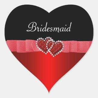 Roter u. schwarzer Diamant, der die Wedding Herzen Herz-Aufkleber