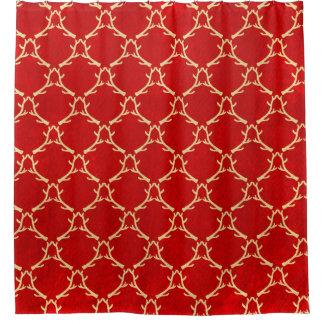 Roter und beige Waldgeweih-Duschvorhang Duschvorhang