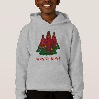 Roter und grüner fröhlicher Weihnachtsbaum Hoodie