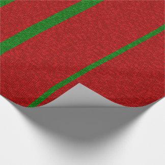 Roter und grüner strickender Weihnachtsfeiertag Geschenkpapier