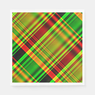 Roter und grüner Tartan kariert Papierservietten