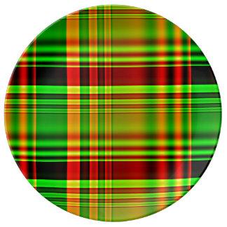 Roter und grüner Tartan kariert Teller