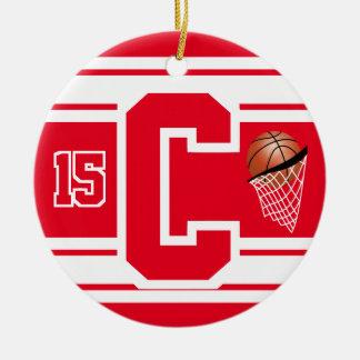 Roter und weißer Basketball-Buchstabe C Keramik Ornament