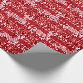 Roter und weißer Ren-Strick-Strickjacke-Blick Geschenkpapier