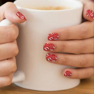 Roter und weißer Spitzeblick Minx Nagelkunst