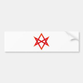 Roter Unicursal Hexagram 3D Autoaufkleber
