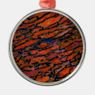 Roter versteinerter Dinosaurierknochen Silbernes Ornament