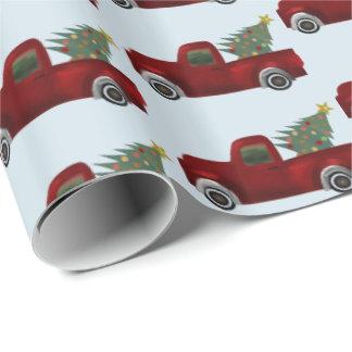 Roter Vintager retro LKW und Weihnachtsbaum Geschenkpapier