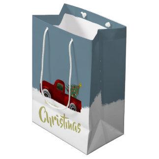 Roter Vintager Retro LKW-und Weihnachtsbaum Mittlere Geschenktüte