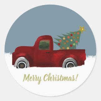 Roter Vintager Retro LKW-und Weihnachtsbaum Runder Aufkleber