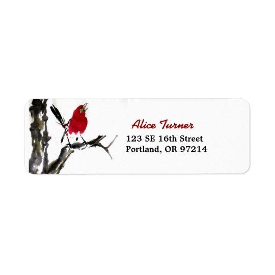 Roter Vogel-Rücksendeadresse-Aufkleber Rücksende Aufkleber