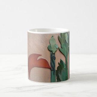 Roter Vogel und Pampas-Stiel Kaffeetasse