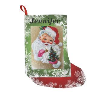 Roter Weihnachtsmann u. grünen IHREN NAME u. FOTO Kleiner Weihnachtsstrumpf