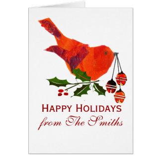 Roter Weihnachtsvogel mit Stechpalme Karte