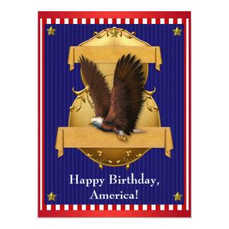 Roter weißer blauer Weißkopfseeadler patriotisch 16,5 X 22,2 Cm Einladungskarte