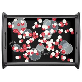 Roter weißer Blume Behälter Tablett