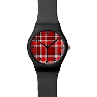 Roter weißer karierter Tartan Armbanduhr