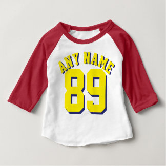 Roter weißer u. gelber Sport-Jersey-Entwurf des Baby T-shirt