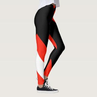Roter weißer u. schwarzer Farbblock 4Anissa Leggings