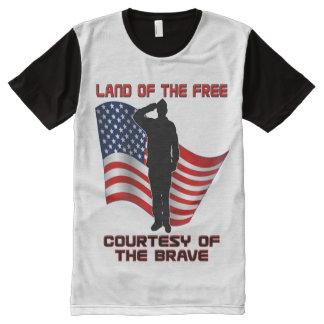 Roter weißer und blauer einzigartiger Veteran und T-Shirt Mit Komplett Bedruckbarer Vorderseite