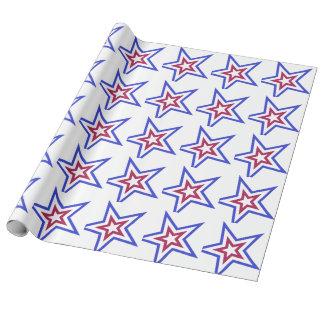 Roter weißer und blauer Stern Geschenkpapier