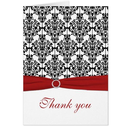 Roter, weißer und schwarzer Damast danken Ihnen zu Mitteilungskarte