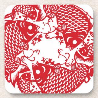 Roter Whirling Untersetzer der Koi