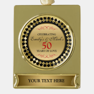Roter Wirbel und Jahrestag der Golddiamant-50. Banner-Ornament Gold