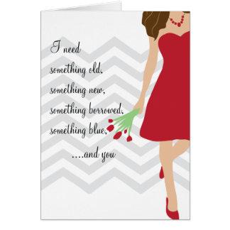 Roter Zickzack Wille sind Sie meine Brautjungfer Grußkarte