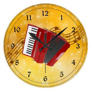 Rotes Akkordeon und musikalische Anmerkungen Wanduhren
