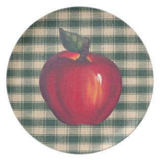 Rotes Apfel-Grün kariert Melaminteller