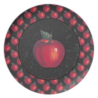 Rotes Apfel-Schwarzes Teller