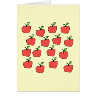 Rotes Apfelmuster, auf Creme Karte
