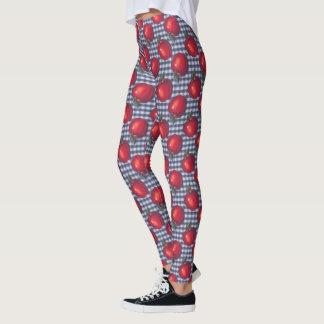 Rotes Apple-blaues kariertes Leggings