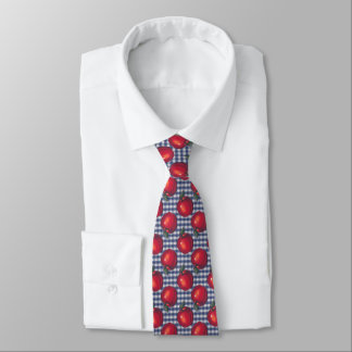 Rotes Apple-blaues kariertes Personalisierte Krawatten