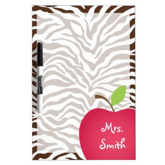 Rotes Apple des Zebra-Druck-Lehrers Memoboard