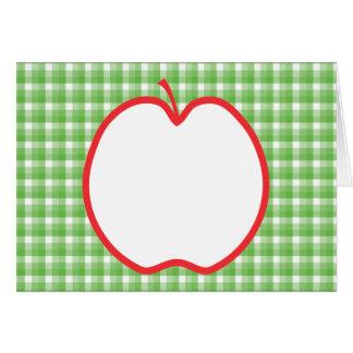 Rotes Apple. Mit grünem und weißem Karte