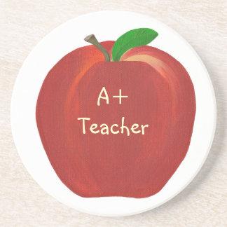 Rotes Apple mit Höhepunkten, A+ Lehrer-Untersetzer Getränkeuntersetzer