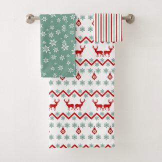 Rotes aquamarines Weihnachtsrennordic-Muster Badhandtuch Set
