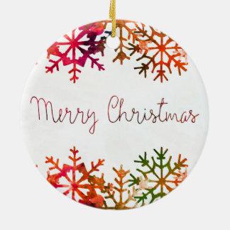 Rotes Aquarell-frohe Weihnachten Keramik Ornament