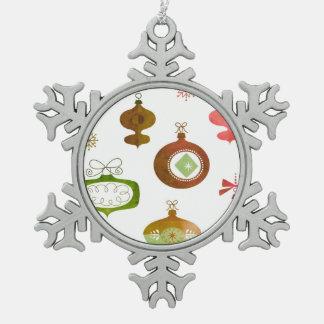 Rotes Aquarell-Retro Verzierungen Schneeflocken Zinn-Ornament