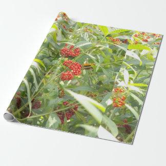 Rotes Beeren-Lech-Packpapier Geschenkpapier