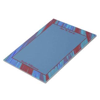 Rotes Blau-FarbSwish abstrakt Notizblock