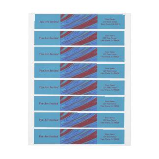 Rotes Blau-FarbSwish abstrakt Rundum-Adressaufkleber Für Rückversand