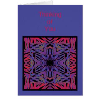 Rotes blaues abstraktes Denken an Sie Grußkarte