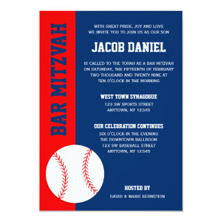 Rotes blaues Baseball-Bar Mitzvah 12,7 X 17,8 Cm Einladungskarte