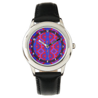 Rotes blaues Diamant-Oval-Muster Uhr
