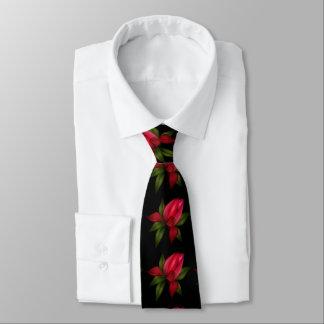 Rotes Blumen auf Schwarzem Bedruckte Krawatte