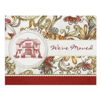Rotes Blumen sind wir umgezogen Postkarten