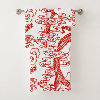 Rotes chinesisches Drache-Muster Badhandtuch Set